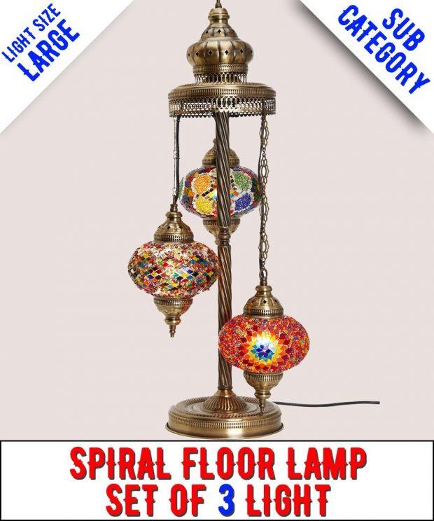 Mosaic Spiral Floor Lamp Set Of 3 Light (Large)