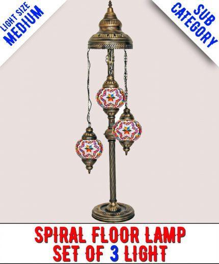 Mosaic Spiral Floor Lamp Set Of 3 Light (Medium)