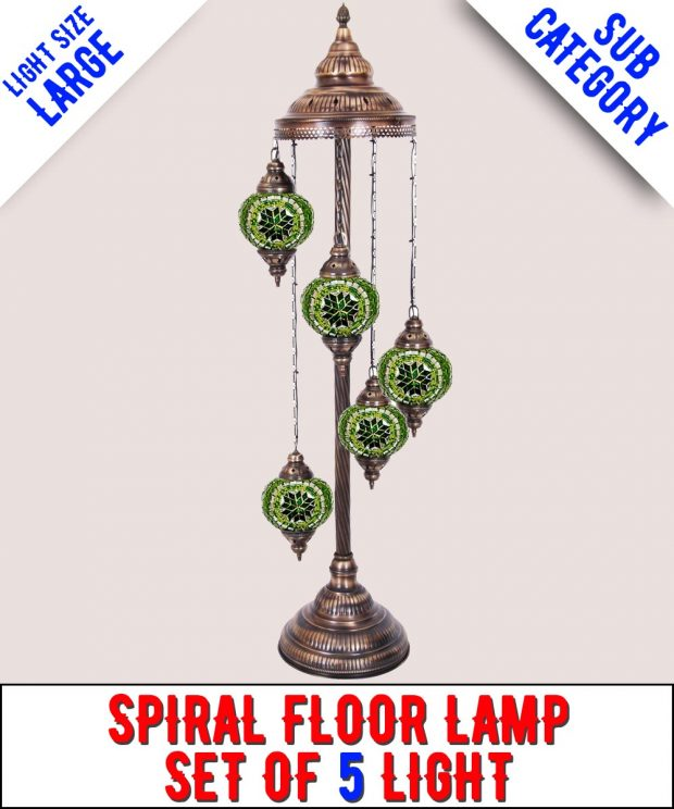 Mosaic Spiral Floor Lamp Set Of 5 Light (Large)