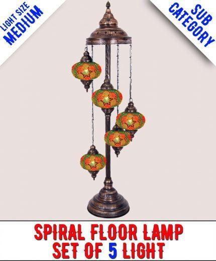 Mosaic Spiral Floor Lamp Set Of 5 Light (Medium)