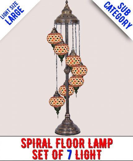Mosaic Spiral Floor Lamp Set Of 7 Light (Large)