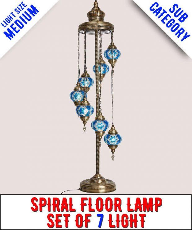 Mosaic Spiral Floor Lamp Set Of 7 Light (Medium)