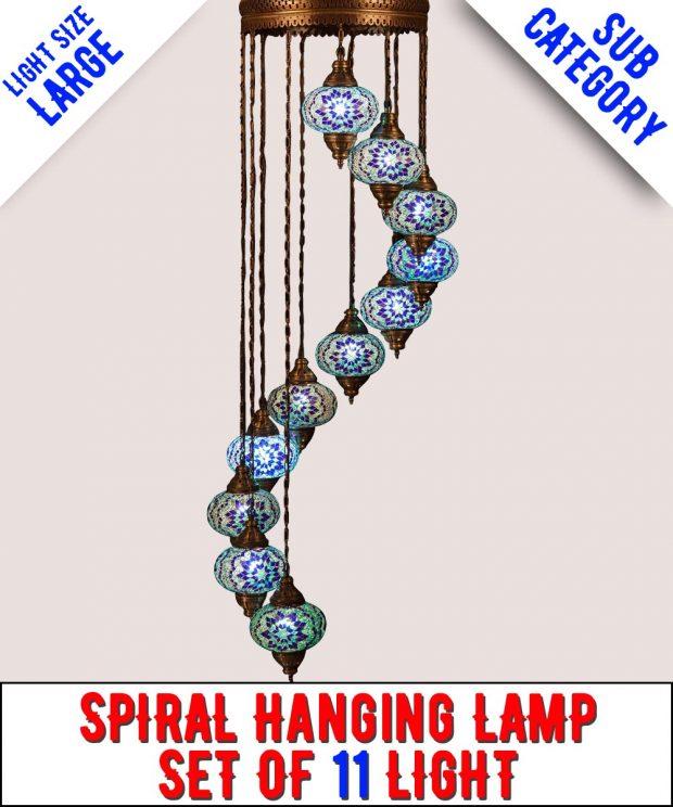 Mosaic Spiral Chandelier Lamp Set Of 11 Light (Large)