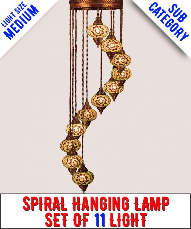 Mosaic Spiral Chandelier Lamp Set Of 11 Light (Medium)