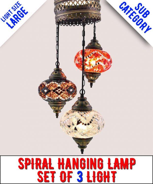 Mosaic Spiral Chandelier Lamp Set Of 3 Light (Large)