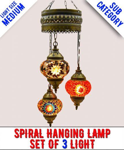 Mosaic Spiral Chandelier Lamp Set Of 3 Light (Medium)
