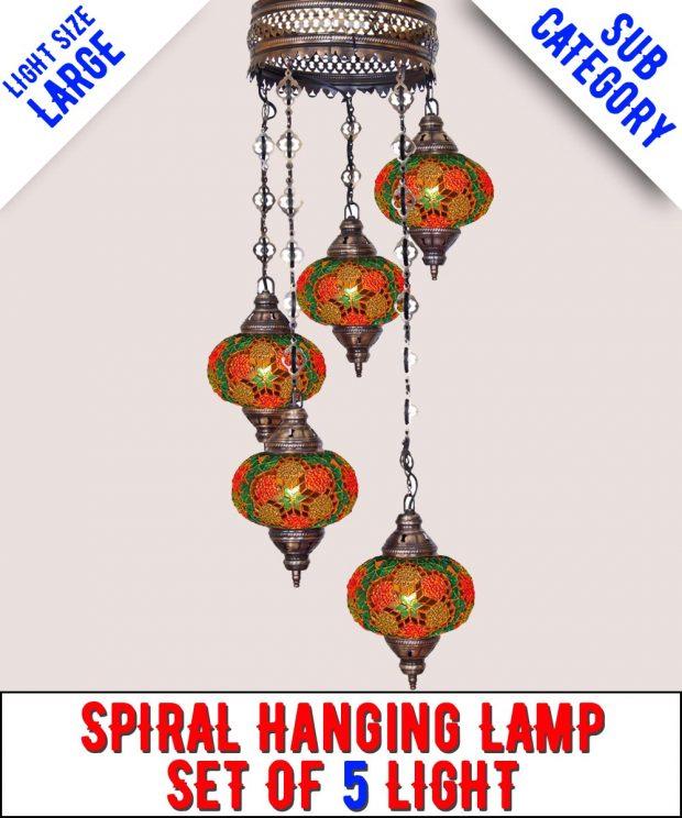 Mosaic Spiral Chandelier Lamp Set Of 5 Light (Large)