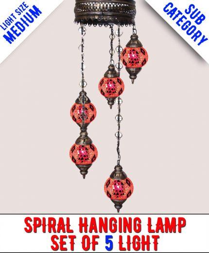 Mosaic Spiral Chandelier Lamp Set Of 5 Light (Medium)