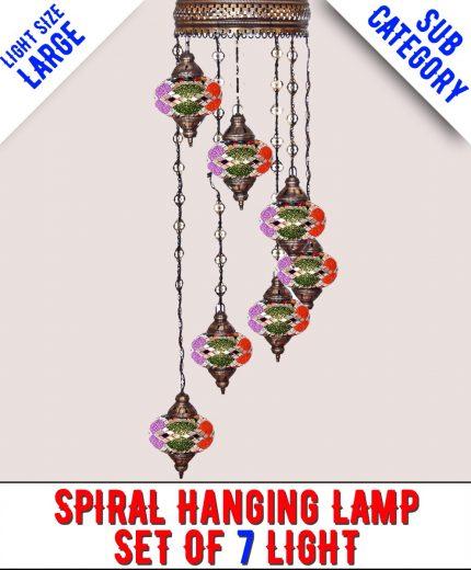 Mosaic Spiral Chandelier Lamp Set Of 7 Light (Large)
