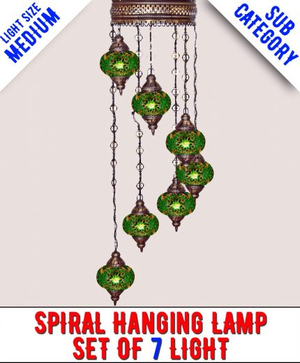 Mosaic Spiral Chandelier Lamp Set Of 7 Light (Medium)