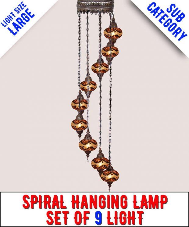 Mosaic Spiral Chandelier Lamp Set Of 9 Light (Large)