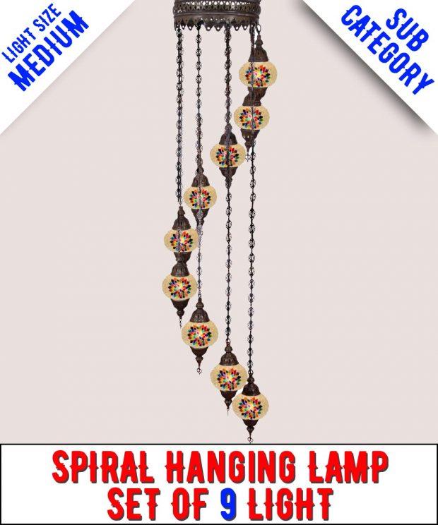 Mosaic Spiral Chandelier Lamp Set Of 9 Light (Medium)