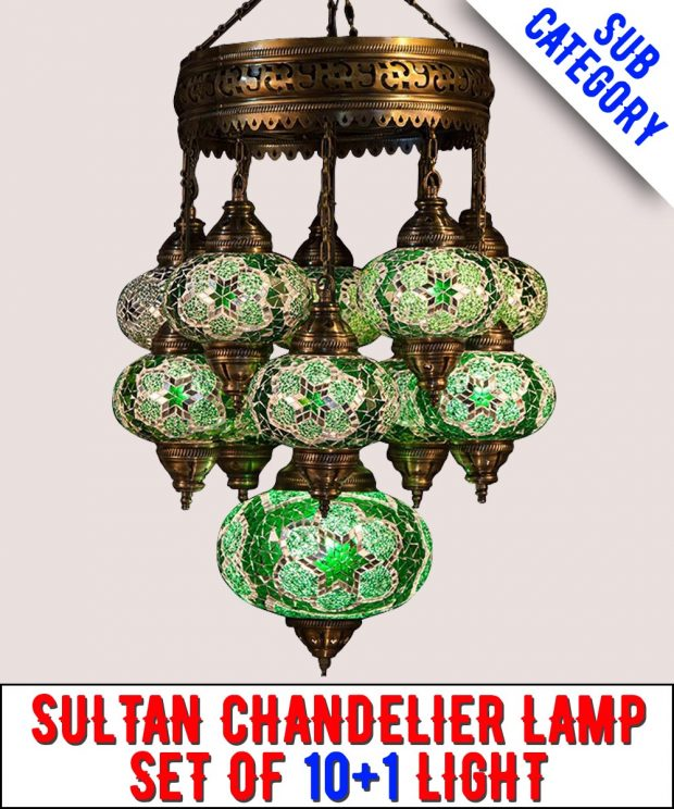 Mosaic Sultan Chandelier Lamp Set Of 10+1 Light