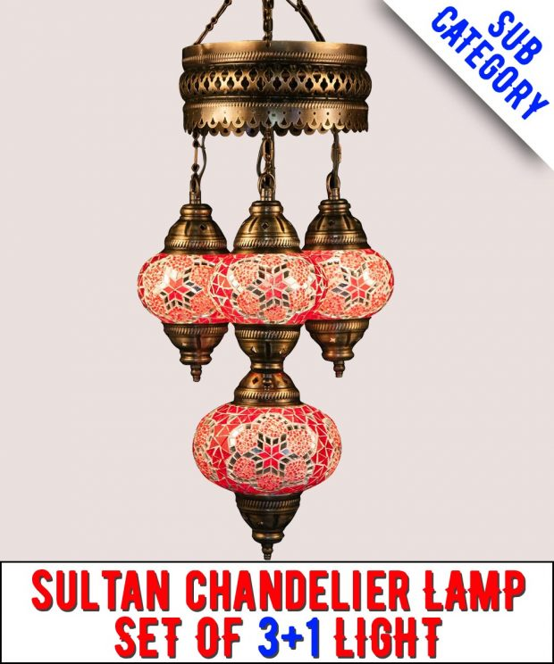 Mosaic Sultan Chandelier Lamp Set Of 3+1 Light