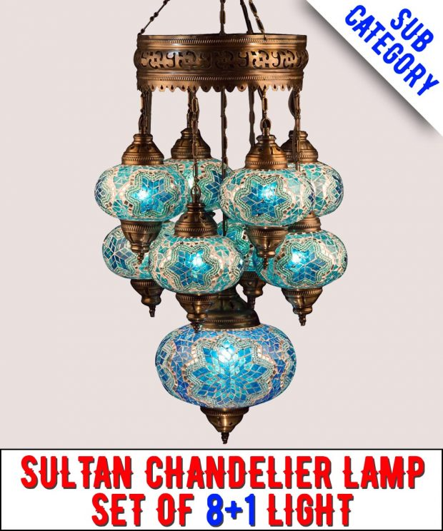 Mosaic Sultan Chandelier Lamp Set Of 8+1 Light