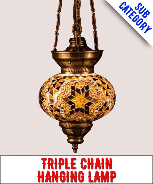 3 Chain Mosaic Hanging Lamp